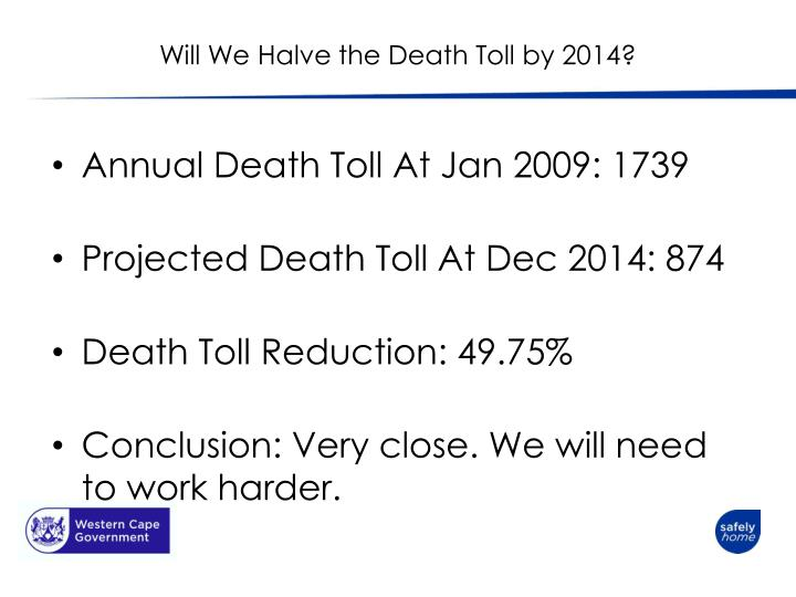 Will We Halve the Death Toll by 2014?