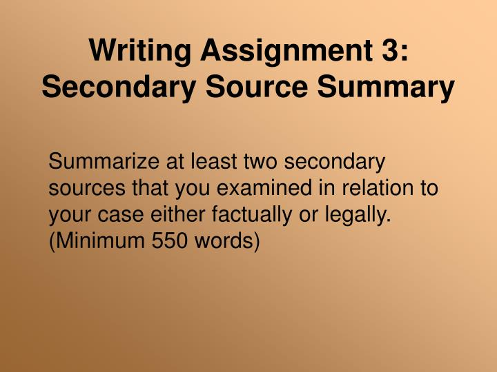 Writing Assignment 3: Secondary Source Summary