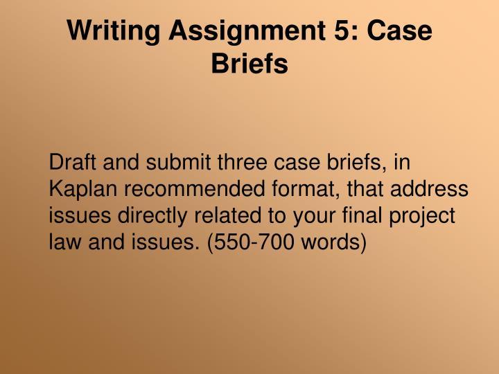 Writing Assignment 5: Case Briefs