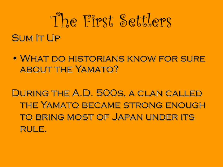 The First Settlers