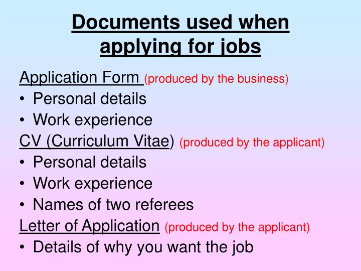 Documents used when