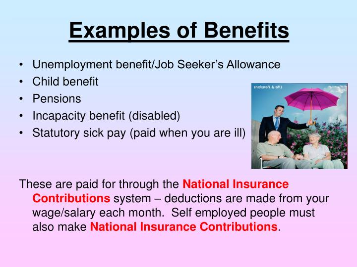 Examples of Benefits