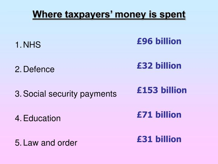 Where taxpayers' money is spent