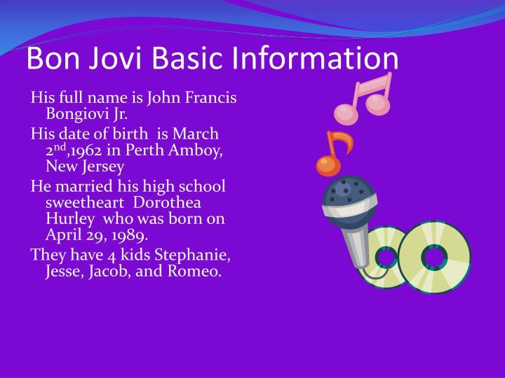 Bon jovi basic information