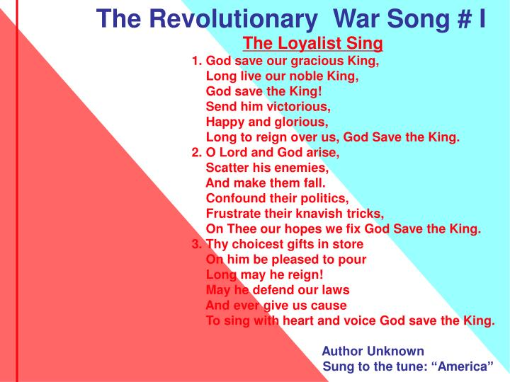 The Revolutionary  War Song # I