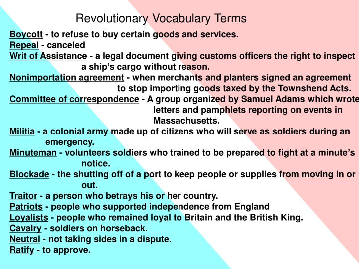 Revolutionary Vocabulary Terms