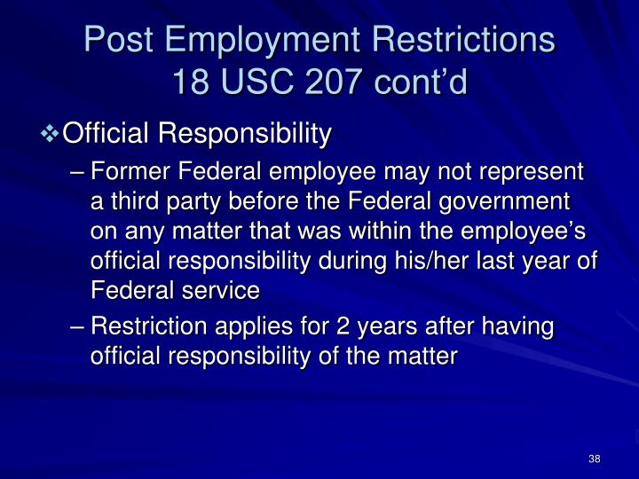 Post Employment Restrictions