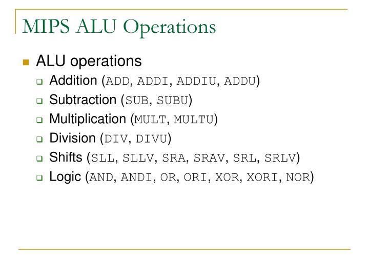 MIPS ALU Operations