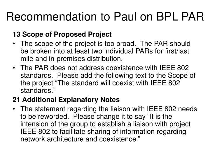 Recommendation to Paul on BPL PAR