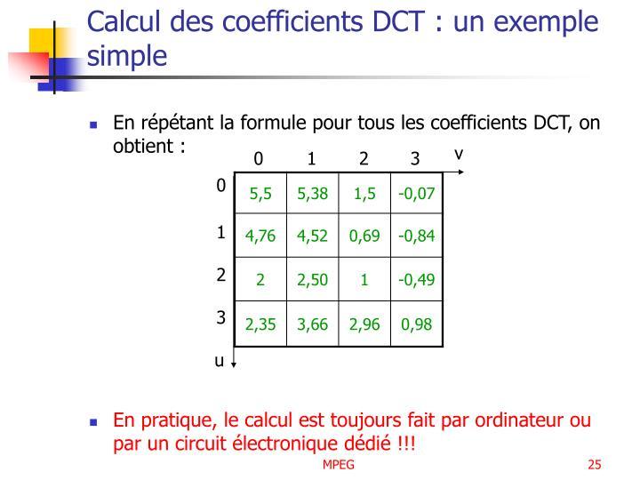 Calcul des coefficients DCT : un exemple simple