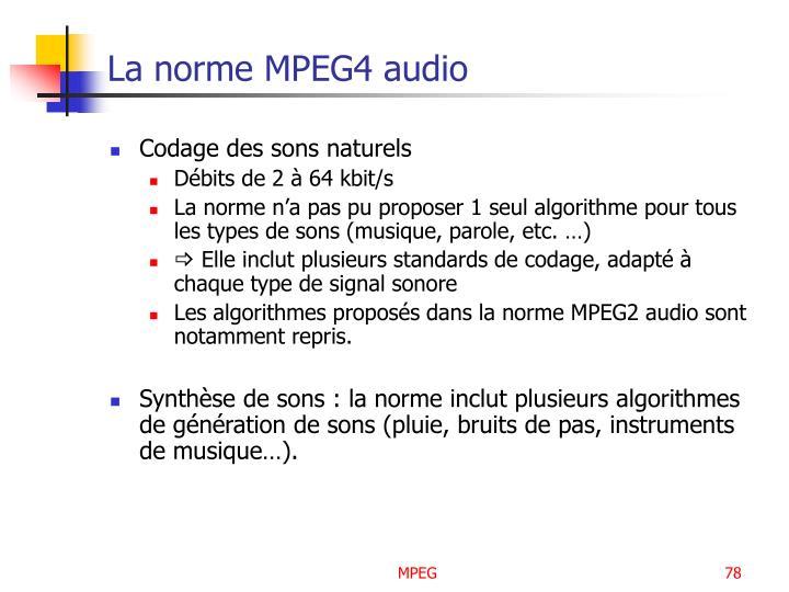 La norme MPEG4 audio
