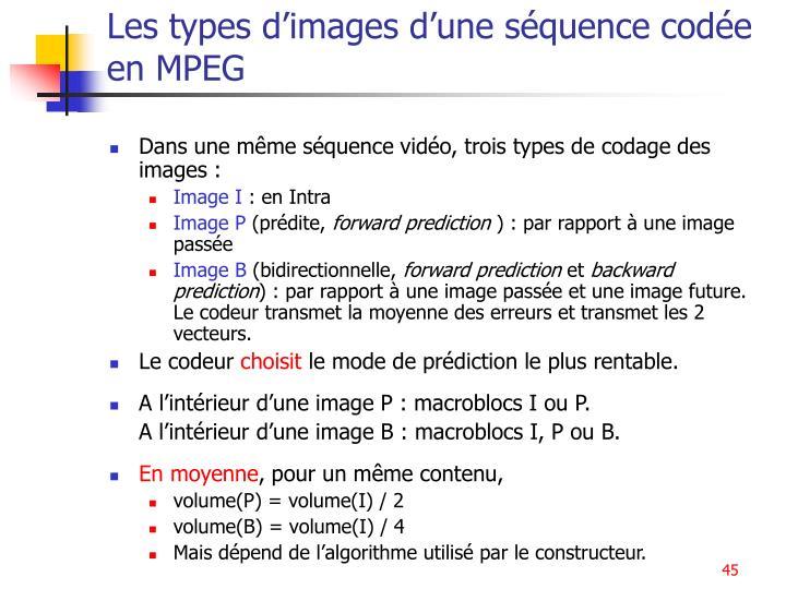 Les types d'images d'une séquence codée en MPEG