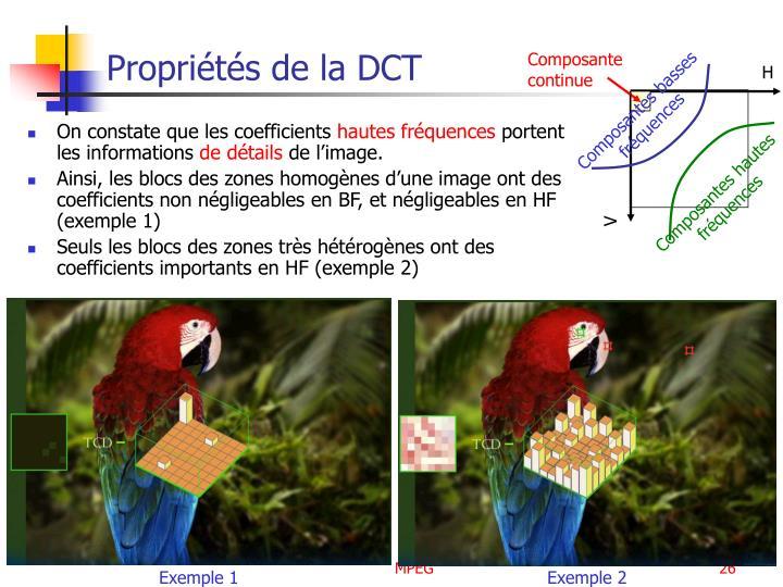 Propriétés de la DCT