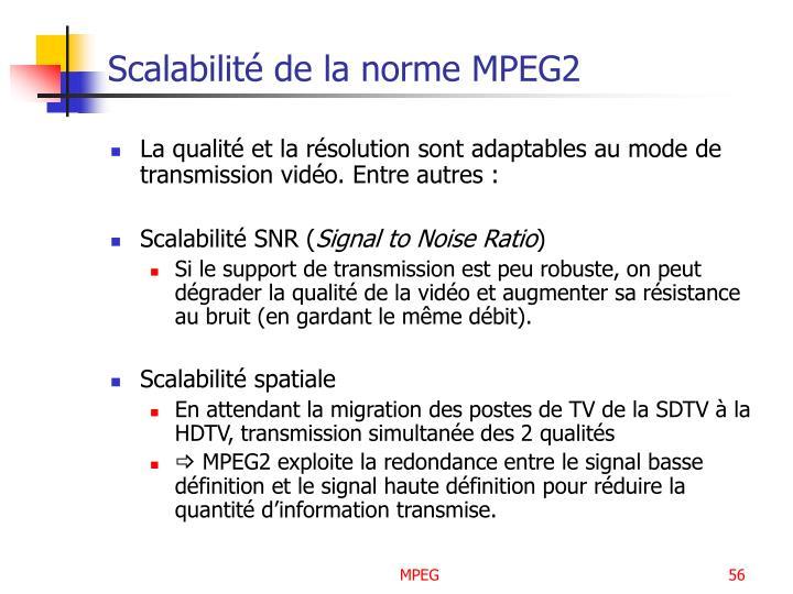 Scalabilité de la norme MPEG2