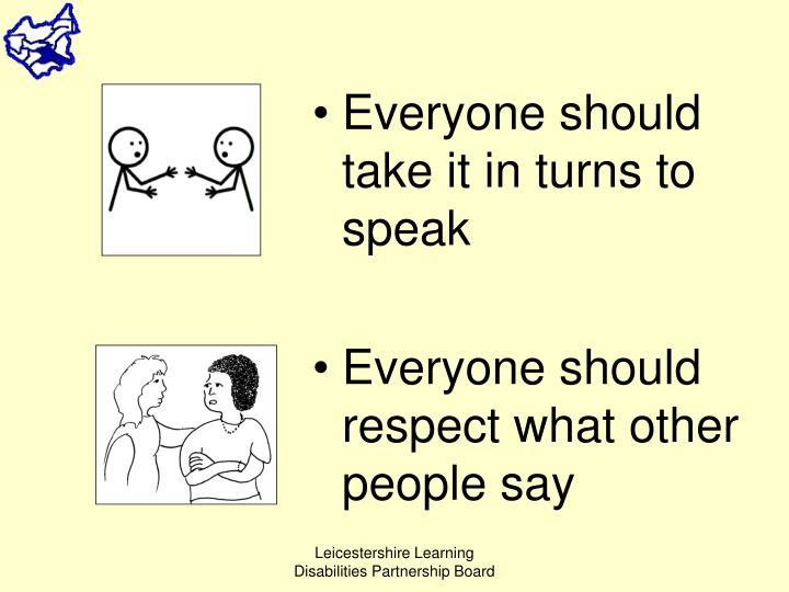 Everyone should take it in turns to speak