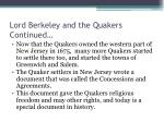 lord berkeley and the quakers continued