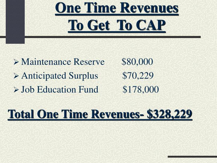 One Time Revenues