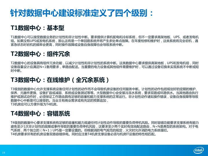 针对数据中心建设标准定义了四个级别: