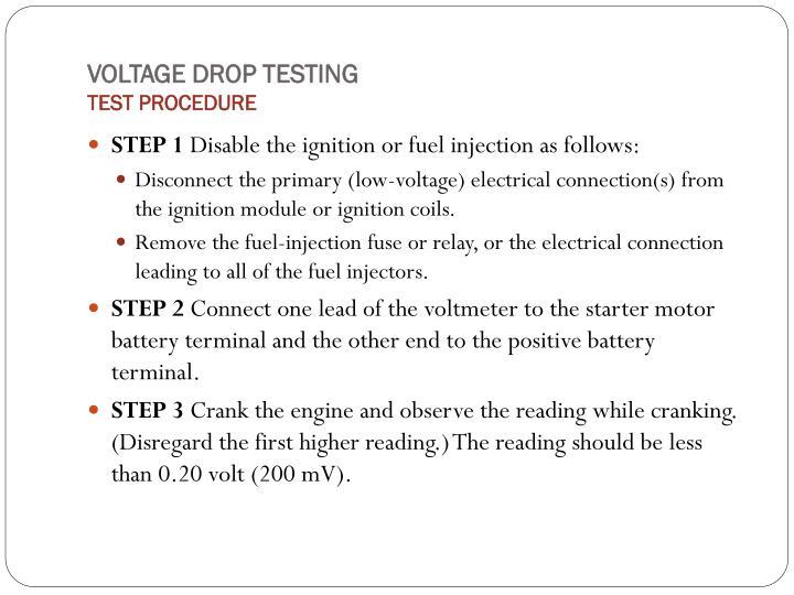 VOLTAGE DROP TESTING