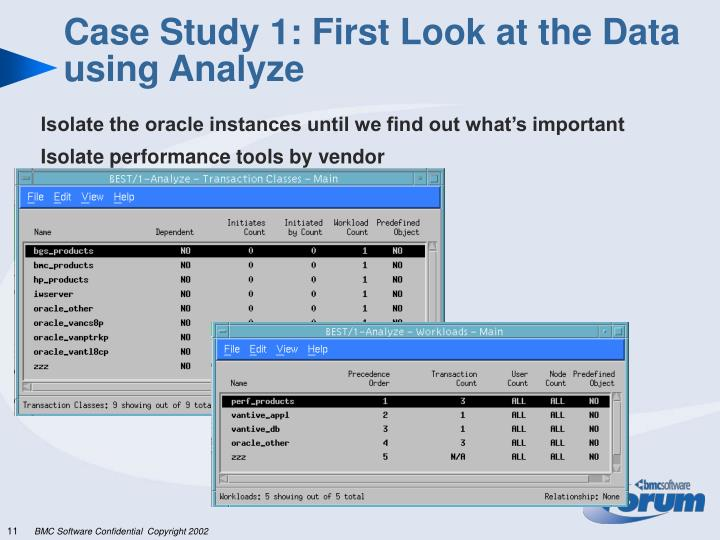 Case Study 1: First Look at the Data using Analyze
