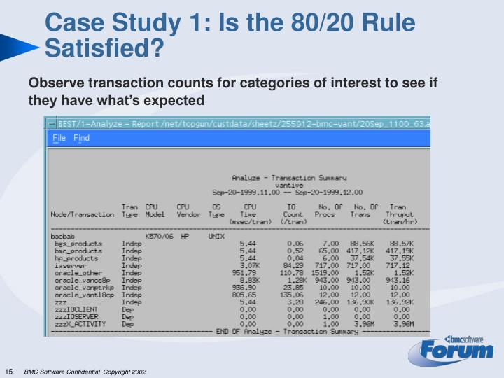 Case Study 1: Is the 80/20 Rule Satisfied?