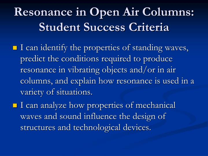 Resonance in Open Air Columns: