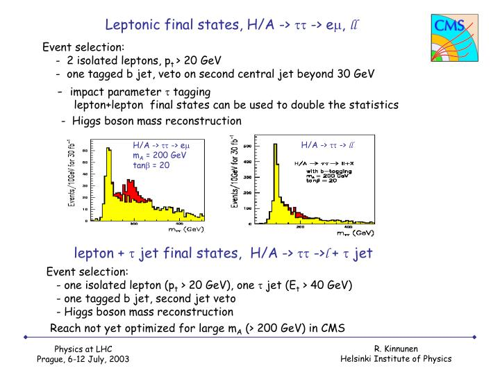 Leptonic final states, H/A ->