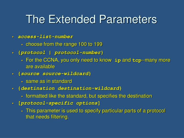 The Extended Parameters