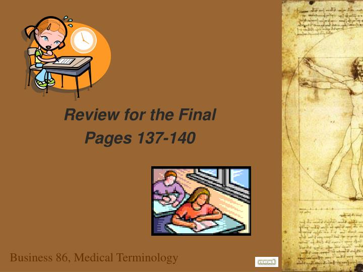 Review for the Final