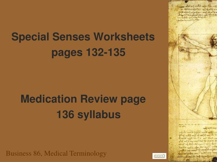 Special Senses Worksheets