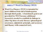 dibels tm word use fluency wuf