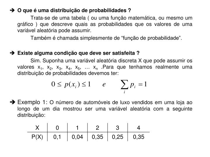 O que é uma distribuição de probabilidades ?