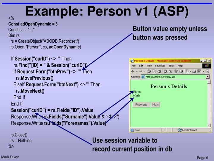 Example: Person v1 (ASP)