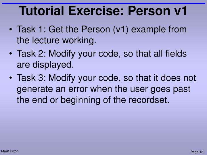 Tutorial Exercise: Person v1