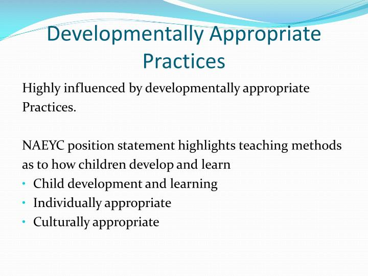 mandated curriculum versus developmentally appropriate practices Skills mandated by their states however, careful exami-  developmentally  appropriate practices 4 standards 4 teachers' decision making  confusion  about the most suitable curriculum content and the most effective.