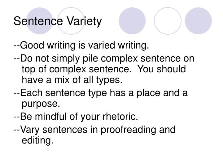 variety of sentence types