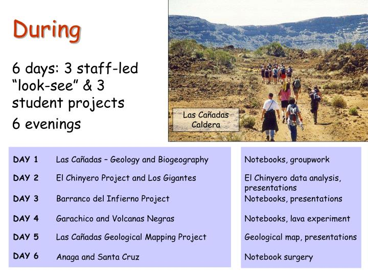 """6 days: 3 staff-led """"look-see"""" & 3 student projects"""