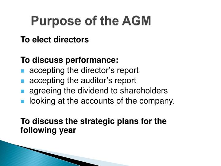 Purpose of the AGM