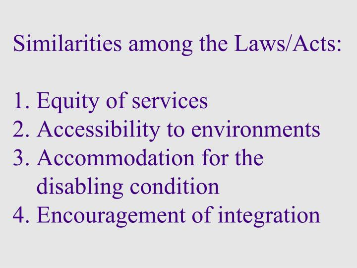 Similarities among the Laws/Acts:
