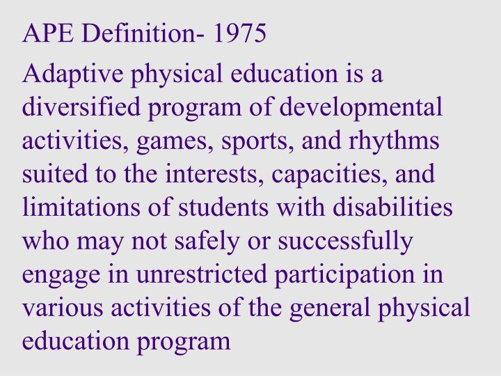 APE Definition- 1975