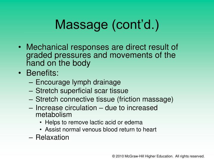 Massage (cont'd.)