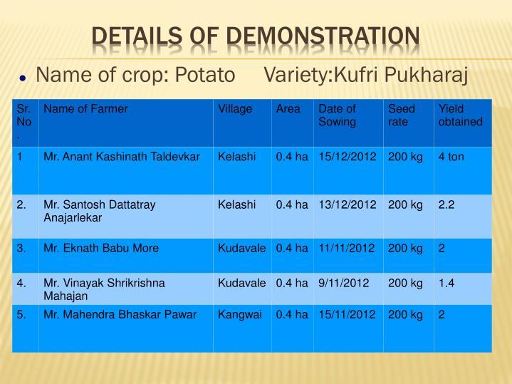 Name of crop: Potato     Variety:Kufri Pukharaj