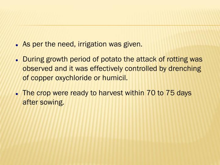 As per the need, irrigation was given.