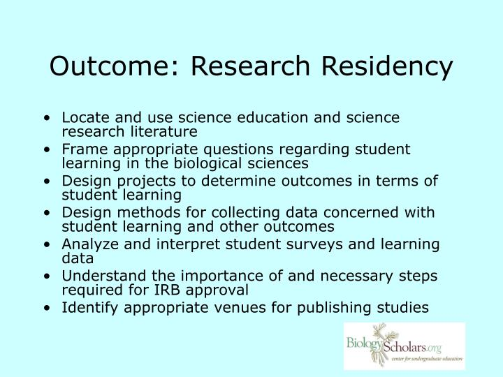 Outcome research residency