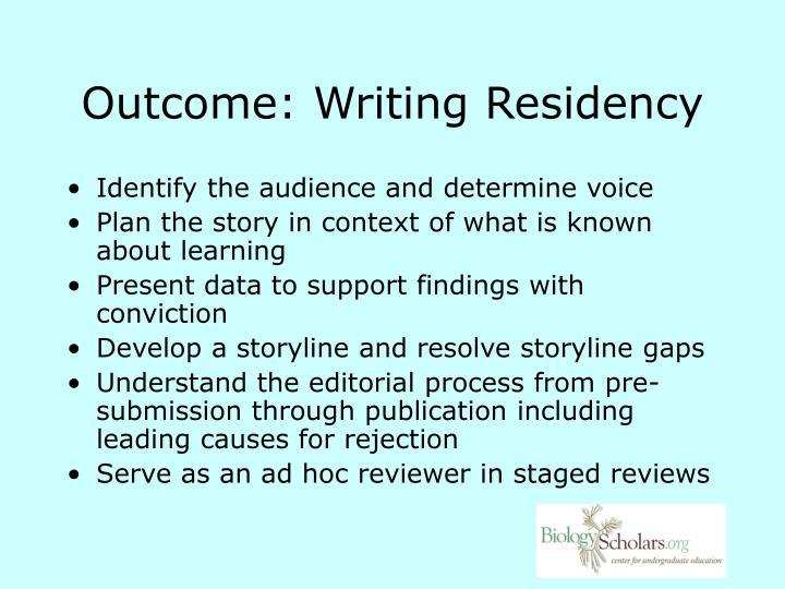 Outcome: Writing Residency