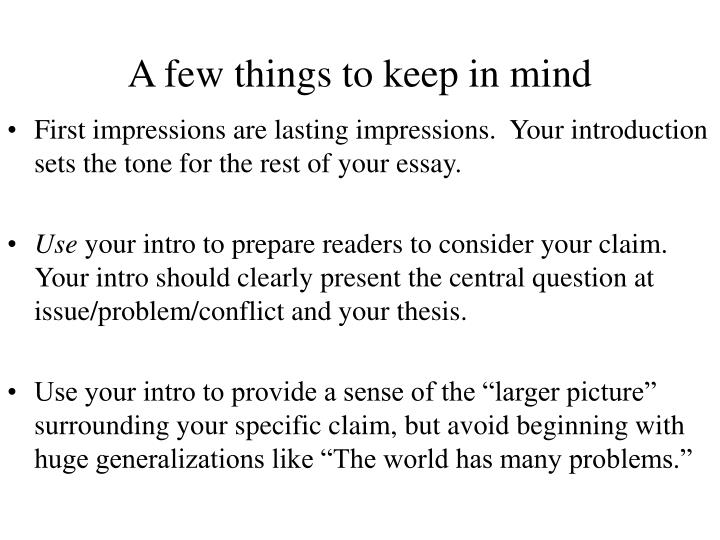A few things to keep in mind