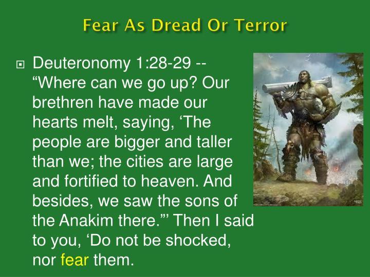 Fear As Dread Or Terror