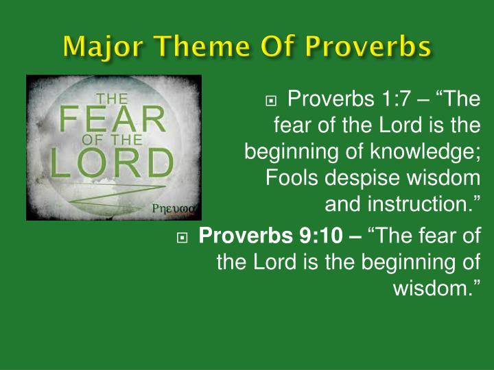 Major theme of proverbs