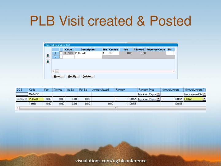 PLB Visit created & Posted