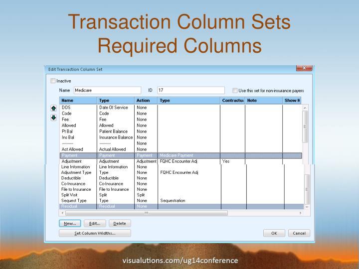 Transaction Column Sets